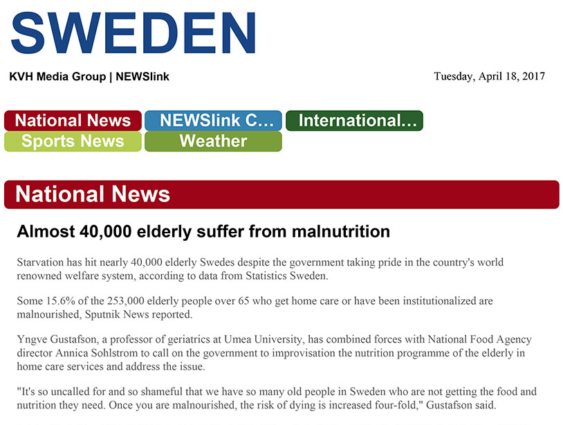 Elderly Swedes starving