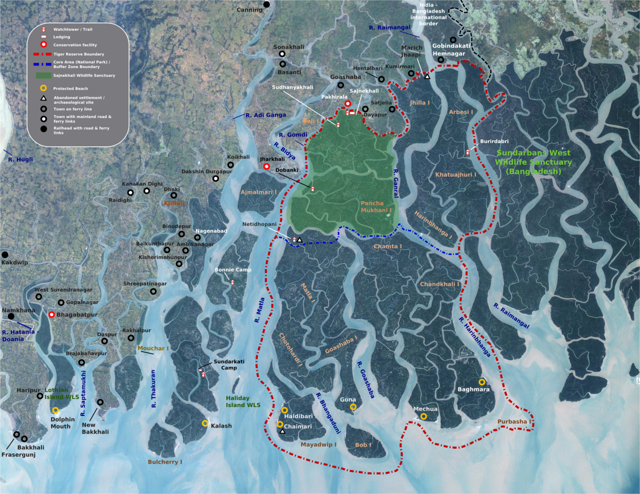 Map of the protected areas of the Indian Sundarban