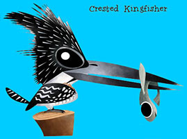 Crested Kingfisher - Green humour