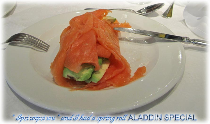 Aladdin's adventure eating smoked salmon and avocado in Liverpool